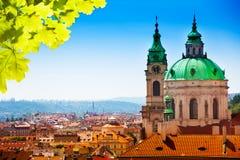 Town panorama and Malostranske namesti. Panorama of Prague and Malostranske dome and tower Stock Photo