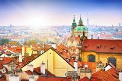 Town panorama Prague and Malostranske namesti Royalty Free Stock Image