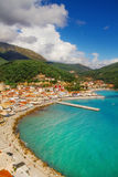 The town of Parga as seen from the castle walls Royalty Free Stock Image