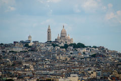 Town of Paris around Sacre Coeur on top of the hill Royalty Free Stock Photos