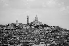 Town of Paris around Sacre Coeur on top of the hill black and wh Royalty Free Stock Photos