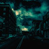 A town in Pennsylvania I added my touch to. Town sky scary stock photo
