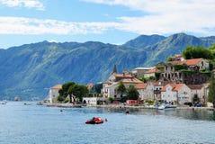 Town Perast in Bay of Kotor Stock Image