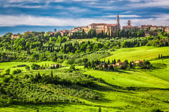 Town of Pienza at sunset Royalty Free Stock Images