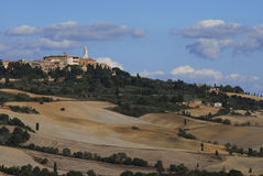 The town of Pienza in Tuscan landscape Stock Image