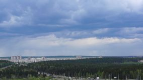 Town in pine forests pan stock video