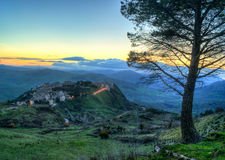 Town of Polizzi Generosa, in the province of palermo. sicily. Town of Polizzi Generosa at sunset, in the province of palermo. sicily Stock Photo