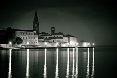 Town of Porec coast evening black and white view. UNESCO landmark in Istria, Croatia Royalty Free Stock Images
