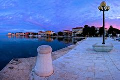 Town of Porec morning sunrise panoramic view from pier. Istria region of Croatia Royalty Free Stock Photography