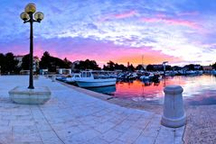Town of Porec morning sunrise panoramic view from pier. Istria region of Croatia Royalty Free Stock Photo