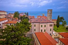 Town of Porec rooftops and coastline view. Istria region of Croatia Royalty Free Stock Photo