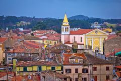 Town of Porec rooftops and coastline view. Istria region of Croatia Royalty Free Stock Images