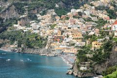 The town of Positano with its coastline, Amalfi Coast, Italy royalty free stock images