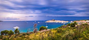 Town Primosten in Croatia -. Dark Blue Sky Over The Shore Royalty Free Stock Photos