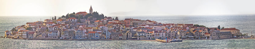 Town of Primosten panoramic view Stock Images