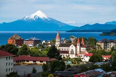 Town of Puerto Varas. With volcano Osorno on the background. Chile royalty free stock photos