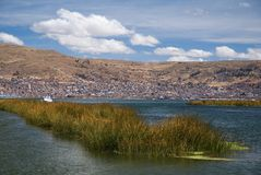 Town Puno, Peru. The city Puno lies on the shores of Lake Titicaca in Peru Royalty Free Stock Photo