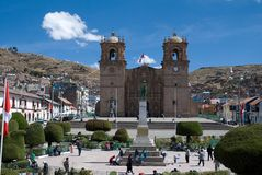 Town Puno, Peru. The city Puno lies on the shores of Lake Titicaca in Peru Stock Images