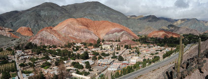 The town of Purmamarca. With Cerro 7 colores Unesco World Heritage Royalty Free Stock Images