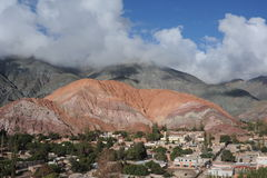 The town of Purmamarca. With Cerro 7 colores Unesco World Heritage Stock Images