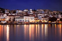 The town of Pylos, Greece. The town of Pylos, southern Greece, captured at dusk Stock Image