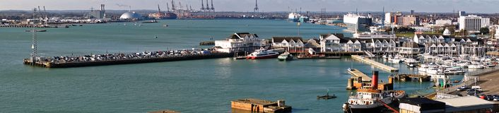 Town Quay, Southampton, England. A panoramic view of the Town Quay which is a historic pier on the dock-side of the harbour in the city of Southampton, England stock photo