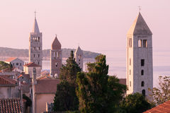 The town of Rab, Croatian tourist resort famous for its four bel Royalty Free Stock Images