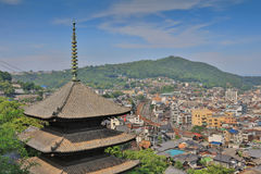 Town in the region of Chugoku. Onomichi, Japan - town in the region of Chugoku. Aerial view with a pagoda stock images