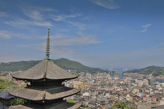 Town in the region of Chugoku. Onomichi, Japan - town in the region of Chugoku. Aerial view with a pagoda stock photography
