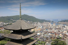 Town in the region of Chugoku. Onomichi, Japan - town in the region of Chugoku. Aerial view with a pagoda royalty free stock photos