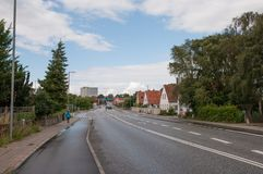 Town of Ringsted in Denmark. Road in town of Ringsted in Denmark Royalty Free Stock Images