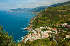 Town Riomaggiore on the coast of the Mediterranean sea Stock Images