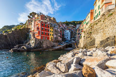 Town of Riomaggiore. Small town by the sea in Chinque Teree natioanal park royalty free stock images