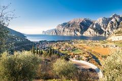 Town of Riva del Garda, Lake Garda, Italy. Panorama of the gorgeous Lake Garda surrounded by mountains in Riva del Garda, Italy stock photography