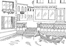 Town river graphic black white sketch illustration Royalty Free Stock Images
