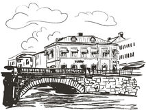 Town riverside sketch Royalty Free Stock Photos