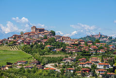 Town of Roddi on the hills in Italy. Stock Photo
