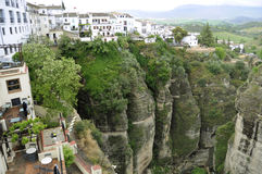 Town of Ronda Spain. The town of Ronda in Andalusia is located above a deep canyon stock images