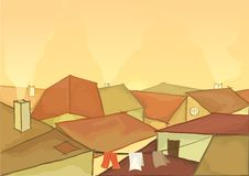 Town roofs. Vector illustration of town roofs with smoke Royalty Free Stock Images