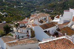 Town rooftops, Frigiliana, Spain. View over the town rooftops and surrounding countryside, Frigiliana, Malaga Province, Andalusia, Spain, Western Europe Stock Photos
