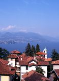Town rooftops and Lake Maggiore, Stresa. Royalty Free Stock Photos