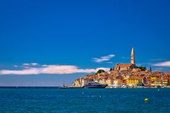 Town of Rovinj ancient architecture and waterfront view Royalty Free Stock Photography