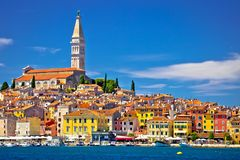 Town of Rovinj ancient architecture and waterfront view Royalty Free Stock Photo