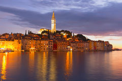 Town of Rovinj (Croatia). Croatian town of Rovinj at dusk Royalty Free Stock Photos