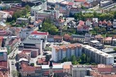 Town Ruzomberok, Slovakia. RUZOMBEROK, SLOVAKIA - MAY 10: Town Ruzomberok from hill Cebrat on May 10, 2014 in Ruzomberok royalty free stock photo