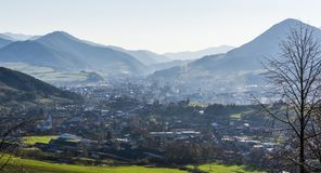 The town of Ruzomberok and the village of Likavka situated in the valley between the mountains royalty free stock images