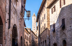 Town of San Gimignano, Italy. View of street and tower at San Gimignano, Italy Royalty Free Stock Photo