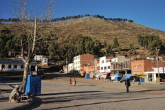 Town of San Pablo  on lake Titicaca Royalty Free Stock Images