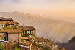 Town of San Vito Romano on the slopes of the hills of Lazio, Italy Stock Images