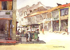 Town scenery watercolor painting Royalty Free Stock Image